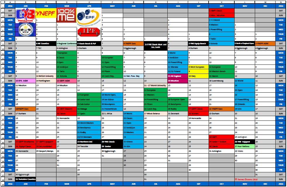 YNEPF 2016 Calendar